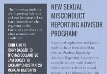 NEW SEXUAL MISCONDUCT REPORTING ADVISOR PROGRAM!