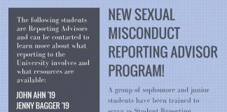 NEW SEXUAL MISCONDUCT REPORTING ADVISOR PROGRAM!