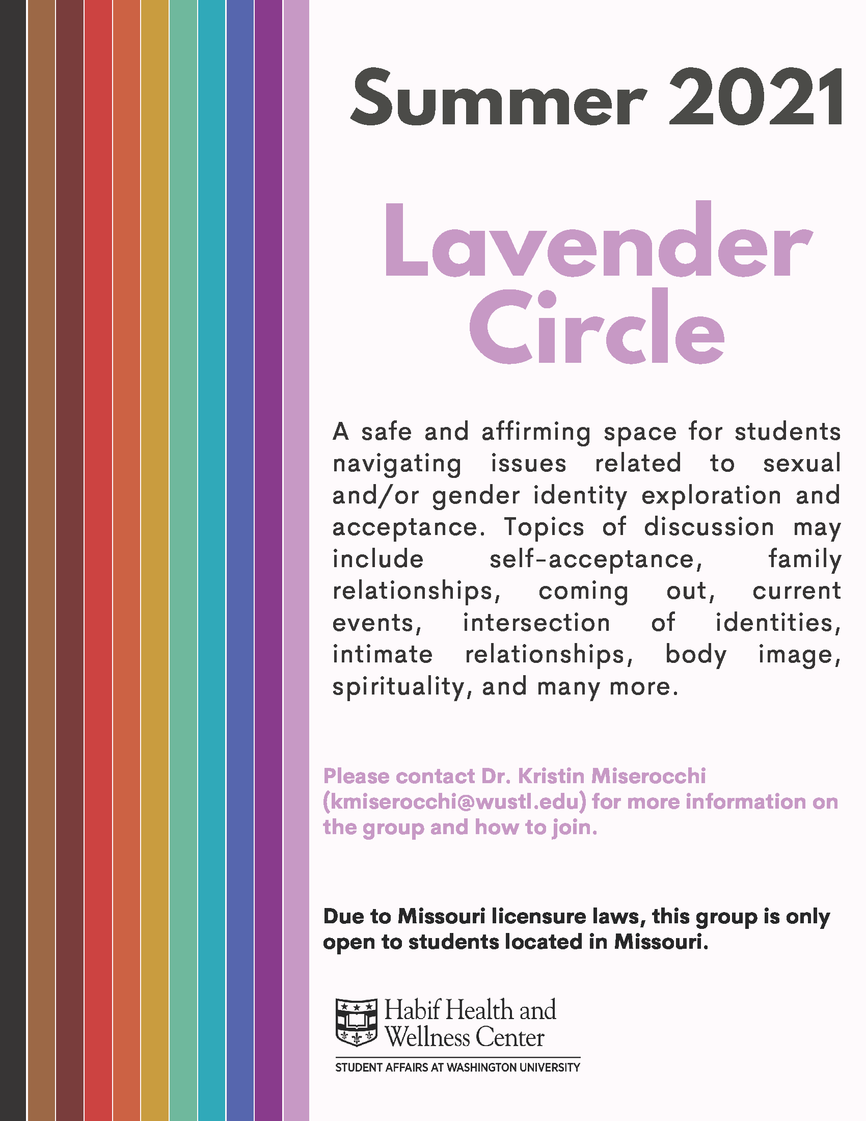 support group for LGBTQIA+ students led by mental health pro
