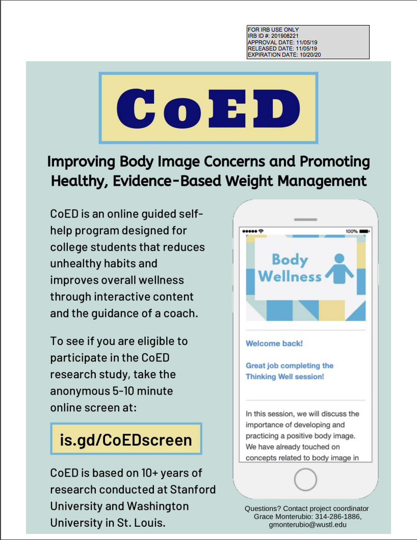 Program design flyer that describes Coed