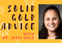 solid gold advice banner with photo of dr. jessi gold