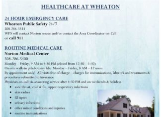 HEALTHCARE AT WHEATON 24 HOUR EMERGENCY CARE Wheaton Public Safety 24/7 508-286-3333 WPS will contact Norton rescue and/or contact the Area Coordinator-on-Call or call 911 ROUTINE MEDICAL CARE Norton Medical Center 508-286-5400 Monday – Friday, 9 AM to 4:30 PM (closed from 12:30 – 1:30) On-site walk-in phlebotomy lab: Monday – Friday, 8 AM – 12 noon By appointment only! All visits free of charge – charges for immunizations, labwork and treatments & procedures submitted to insurance Physician-on-call via answering service after 4:30 PM and on weekends & holidays • sore throat, cold & flu, upper respiratory infections • skin rashes • GI upset • urinary infections • other minor conditions and injuries • routine immunizations • GYNexams • birth control, pregnancy testing and Plan B • confidential S TD/S TI and HI V testing Cynthia Maricle, Associate Director, Health & Wellness at Norton Medical Center 508-286-8210 • Assistance accessing Norton Medical Center and the Counseling Center • Health insurance information • Health care options and resources • All health related questions and concerns MENTAL HEALTH CARE Wheaton College Counseling Center 508-286-3905 Monday – Friday, 8:30 AM to 4:30 PM Free, short term therapy by appointment only Emergency walk-in services available during business hours After hours, contact WPS at 508-286-3333