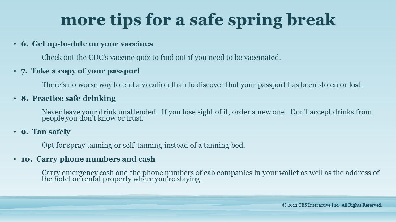more safe spring break tips