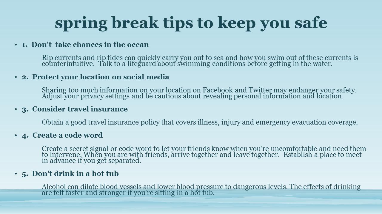safe spring break tips