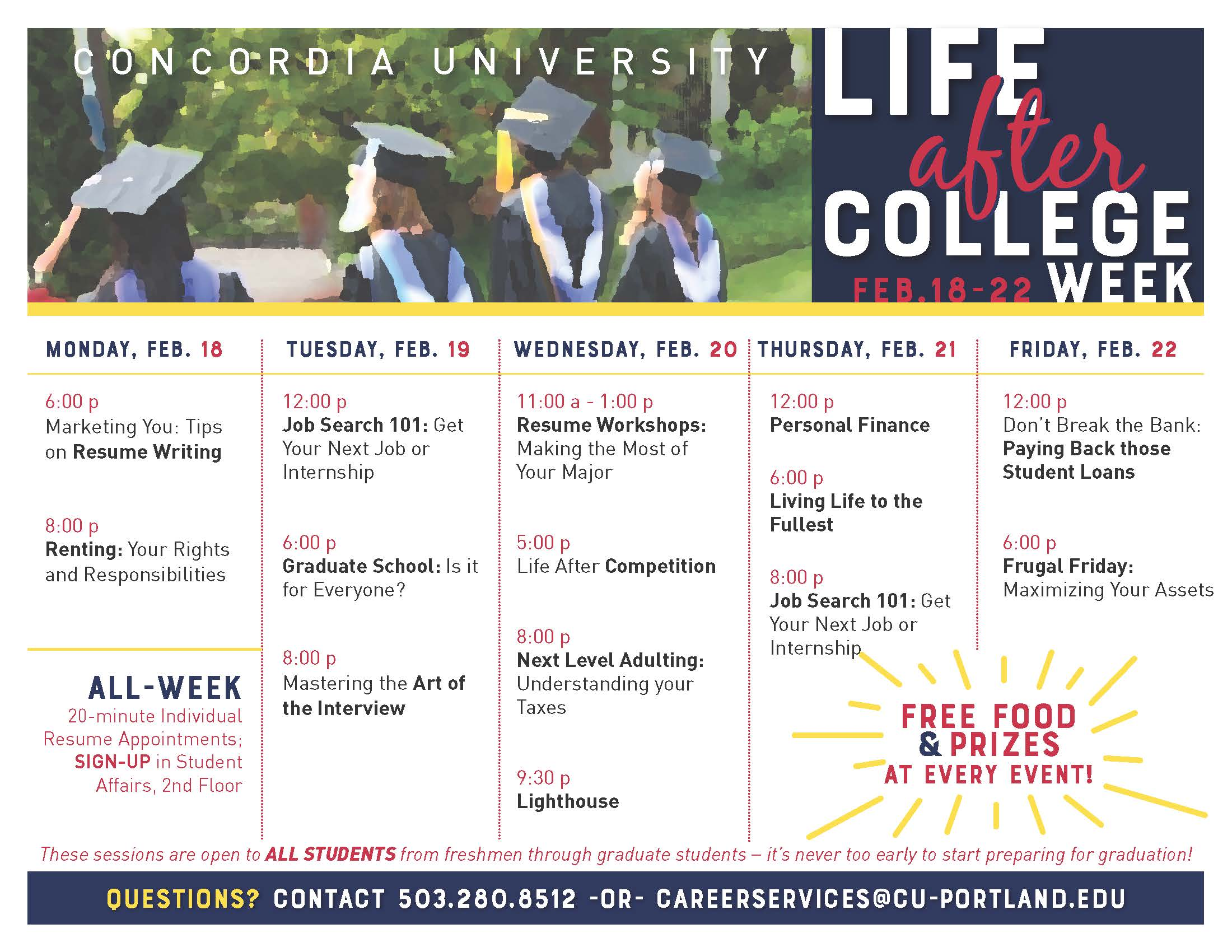 To see the most current calendar of events, go to https://www.cu-portland.edu/student-affairs/career-services/events