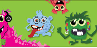 Four friendly cartoon monsters