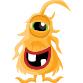 Orange monster with one eye