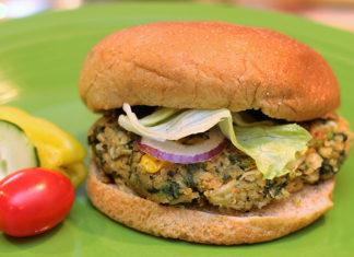 Beans and greens burger