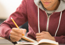 Male student taking a test
