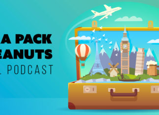 """Suitcase filled with landmarks, text reading """"Extra pack of peanuts travel podcast"""""""
