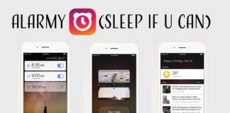 Screen shots of alarmy app