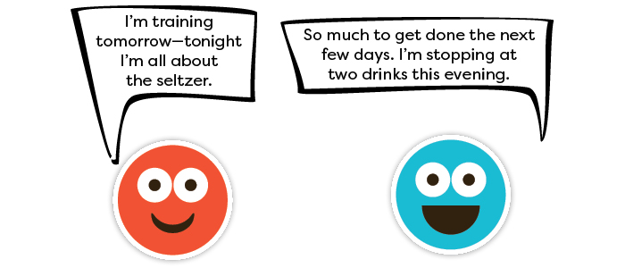 Person 1: I'm training tomorrow—tonight I'm all about the seltzer. Person 2: So much to get done the next few days. I'm stopping at two drinks this evening.