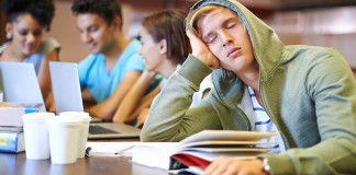Student falling asleep at desk