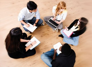 Group of people studying
