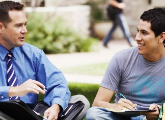 Two men chatting