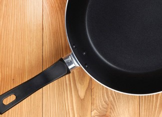 Frying pan on counter