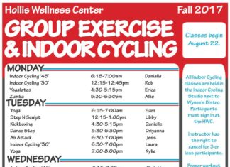 "Hollis Wellness Center GROUP EXERCISE & INDOOR CYCLING Fall 2017 MONDAY 6:15-7:00am 12:15-12:45pm 4:30-5:15pm 5:30-6:30pm 6:15-7:00am 12:15-1:00pm 4:30-5:15pm 5:30-6:30pm 6:30-7:00pm 6:30-7:00pm 7:00-8:00pm 6:15-7:00am 12:15-12:45pm 4:30-5:15pm 5:30-6:30pm 7:00-7:30pm 6:15-7:00am 12:15-1:00pm 4:30-5:15pm 5:30-6:30pm 6:30-7:30pm 4:30-5:15pm 5:30-6:30pm 9:00-9:45am 11:00am-12:00pm Danielle Rob Erica Allie Sam Libby Danielle Driyanna Jess Laura Kylie Christie Elise Libby Driyanna Sarah Sam Kristin Kylie Sarah Addison Addison Kylie Laura Rotation Classes begin August 22. All Indoor Cycling classes are held in the Indoor Cycling Studio next to Wynee's Bistro. Participants must sign in at the HWC. Instructor has the right to cancel for 3 or less participants. Proper workout a ire is required for all group exercise classes. We recommend bringing a towel and water bo le to all classes. Interested in FREE personal training? Check out our Jump Start Program! Indoor Cycling '45' Indoor Cycling '30' Yogalates Zumba TUESDAY Yoga Step N Sculpt Kickboxing Dance Step Ab A ack Indoor Cycling '30' Yoga WEDNESDAY Indoor Cycling '45' Indoor Cycling '30' Total Body Conditioning Zumba Ab A ack THURSDAY Yoga Total Body Conditioning Yoga Barre 20-20-20 Step N Sculpt Kickboxing SATURDAY Intro Cycling Water Aerobics FRIDAY Abby Elias aelias@flsouthern.edu 863-680-6249 CLASS DESCRIPTIONS 20-20-20 NEW! Try a li le bit of everything! Each week the class will consist of 20 minutes cardio, 20 minutes strength training, and 20 minutes of core. This dynamic workout is a perfect addition to your weekly routine. AB ATTACK A workout devoted entirely to the abdominals, hips and lower back. You'll strengthen and stretch your ""core"" in 25 minutes. All Levels. BARRE A low impact technique class focused on strengthening and lifting, by using isolation of smaller muscle groups. It's great for building lean muscle and strength. No background in dance/ballet is required! DANCE STEP NEW! Get ready to be lit and fit! This aerobics class uses an elevated step height to add intensity as you use cardio dance moves to jam out to the ho est hits of hip hop, pop, and Latin music. INDOOR CYCLING Choose your ride. Express '30' rides are great for new or frequent riders practicing basic foundations. Learn riding forms, resistance and proper pedal stroke while establishing a strong aerobic base. Full '45' rides establish a strong aerobic base with hill climbs, intervals, flat roads and sprints. Each ride is for all levels. The Saturday INTRO Cycling has a 10-15 minute beginning that focuses on alignment, pedal stroke, form, and breath followed by a 30-35 minute beginner workout. KICKBOXING NEW! If you're looking for a cardio workout that will have you kick and punch your way to a stronger body, then this is the class for you! Each week you will learn sculpting kickboxing combos that are perfect for all levels! No kickboxing experience required. Step N Sculpt Your much needed break time during the day! This class combines step combinations with strength training move- ments to make that time fly by. You choose your step height to determine your intensity level. TOTAL BODY CONDITIONING Bored with your usual workout routine? This is a 45 minute power-packed cardio and strength workout that incorporates the full body! Each week will vary between strength, cardio and circuits! All levels! WATER AEROBICS NEW! Water adds resistance but takes away heavy impact which can be harmful to some joints. This class is for everyone and anyone who wants to get their heart rate up and increase their strength in a way that is safe and effective. This class will be held once a week in the shallow-end of the pool with lifeguards on standby. YOGALATES NEW! A flowing mind/body practice integrating traditional yoga poses with Pilates moves to increase strength, flexibility, coordination, and balance while reducing stress. YOGA This class includes classical yoga postures, breathing techniques, and relaxation methods. Benefits include: stress release, body strength, weight control, improved body alignment, flexibility and mental balance. All levels. ZUMBA A fun, effective and simple fitness system that uses the principal of aerobic interval training to maximize caloric output, fat burning and total body training. Latin rhythms create a party like atmosphere that delivers results. All levels."