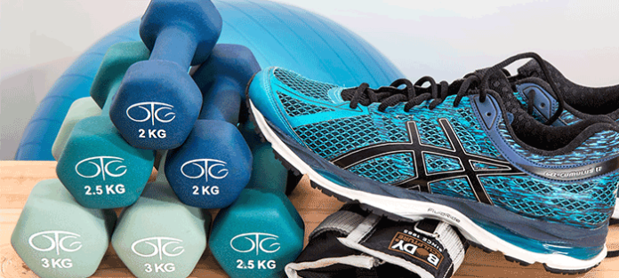 Sneakers, Dumbbells, and Exercise Ball