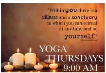 """""""Within you there is a stillness and a sanctuary to which you can retreat at any time and be yourself."""" - Hermann Hesse YOGA THURSDAYS - 9:00 AM tone breathe deep stretch relax $5 STUDENTS $10 COMMUNITY mats provided - all levels welcome WELLNESS STUDIO WEST HALL ANNEX (ON PUC CAMPUS) www.nourishingintelligence.com"""