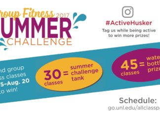 Group Fitness 2017 SUMMER #ActiveHusker Tag us while being active to win more prizes! CHALLENGE Schedule: go.unl.edu/allclasspass challenge 30= summer 45= water bottle + prizes classes tank classes Attend group tness classes May 15–Aug. 20 to win!