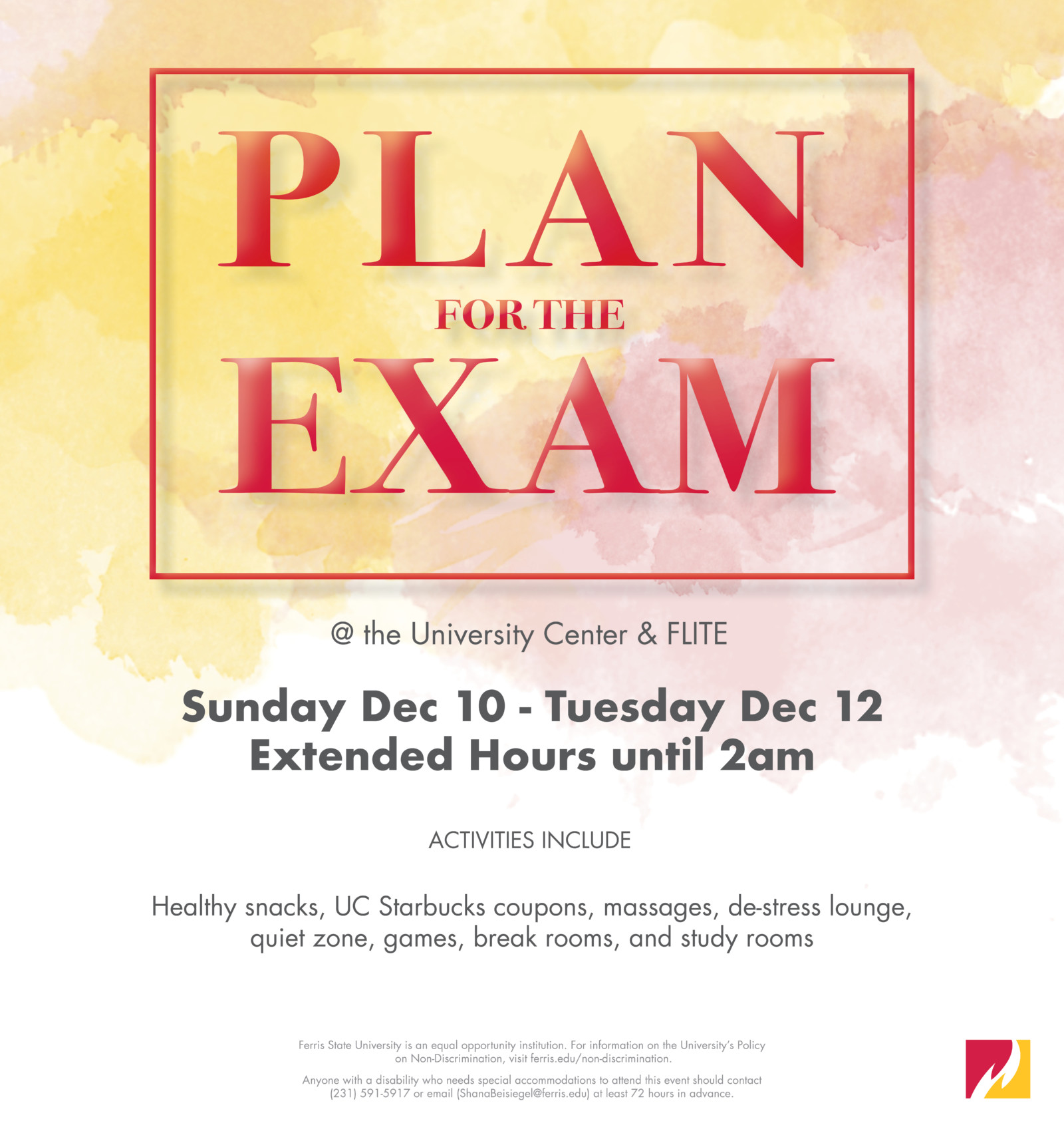 Plan for the Exam