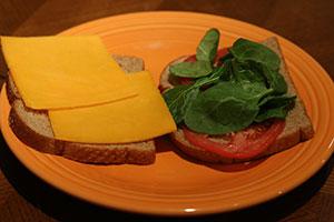 Uncooked sandwich assembled