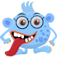 Blue monster with glasses