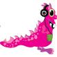 Pink monster wearing headphones
