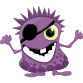 Purple monster with eye patch