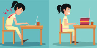 Illustration of two girls: one with bad posture, leaning over a desk, one with good posture sitting up.