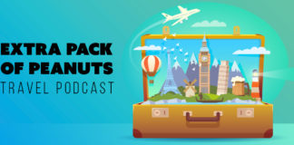 "Illustration of a suitcase with landmarks, text reading ""Extra pack of peanuts travel podcast"""
