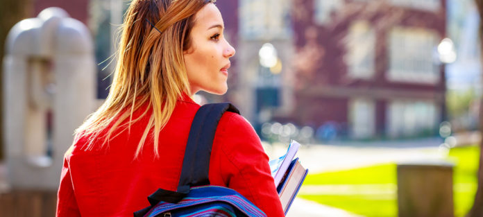 Woman going to class