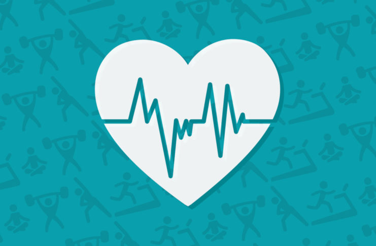 Fitness themed graphic with heart icon in foreground
