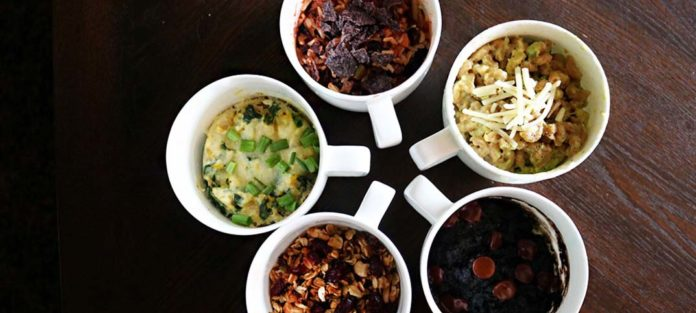 Collection of five prepared mug meals