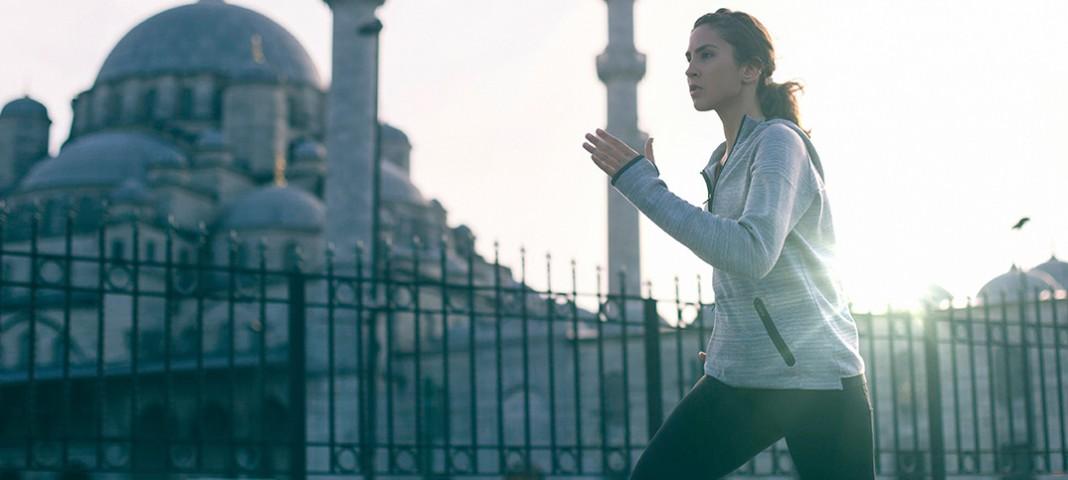 Female running outdoors