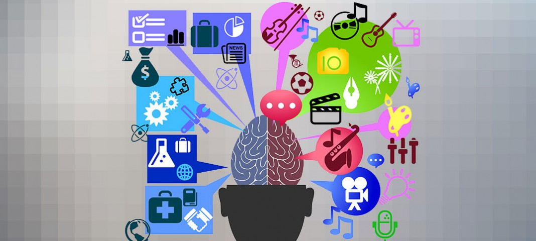 Illustration of a brain with lots of creative images surrounding it