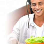 Man eating salad