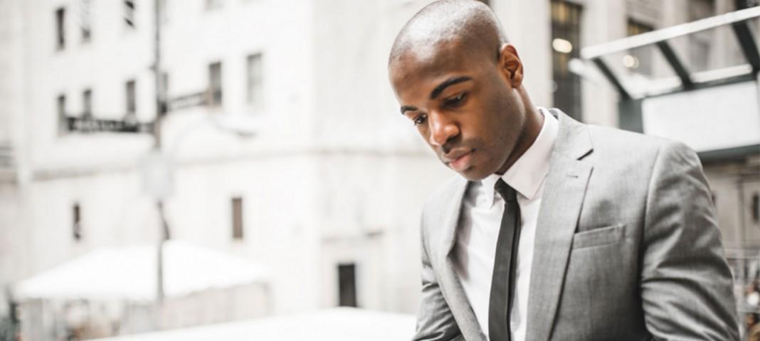 Man preparing for interview
