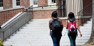 Two female students walking together