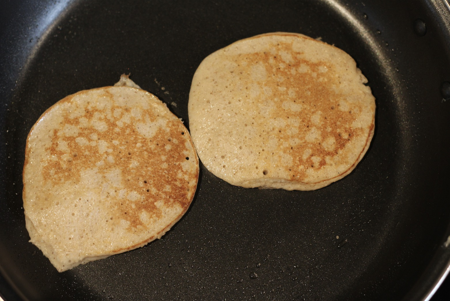 Place the pancake batter on the frying pan