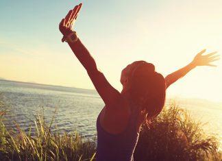 Happy girl feeling free