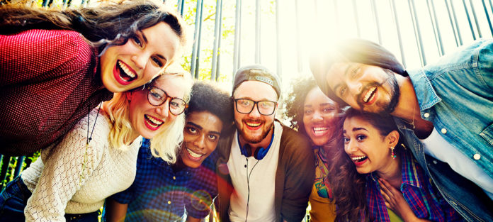 Happy mixed race students