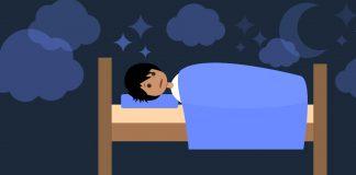 Cartoon laying in bed awake