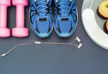 Weights, Sneakers, Ear Buds, and Healthy Snacks