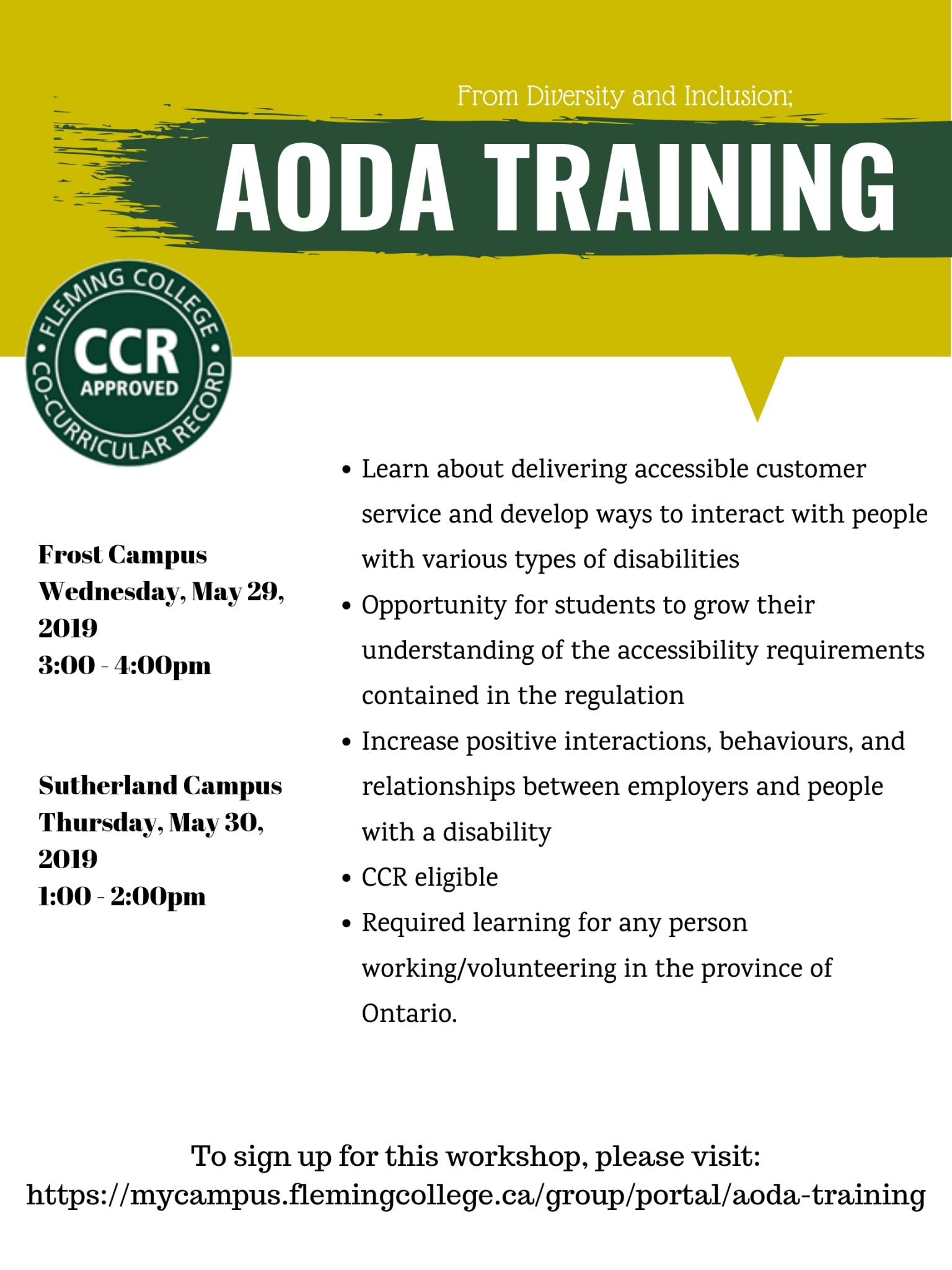 AODA Training to be offered at Fleming College Sutherland and Frost Campuses