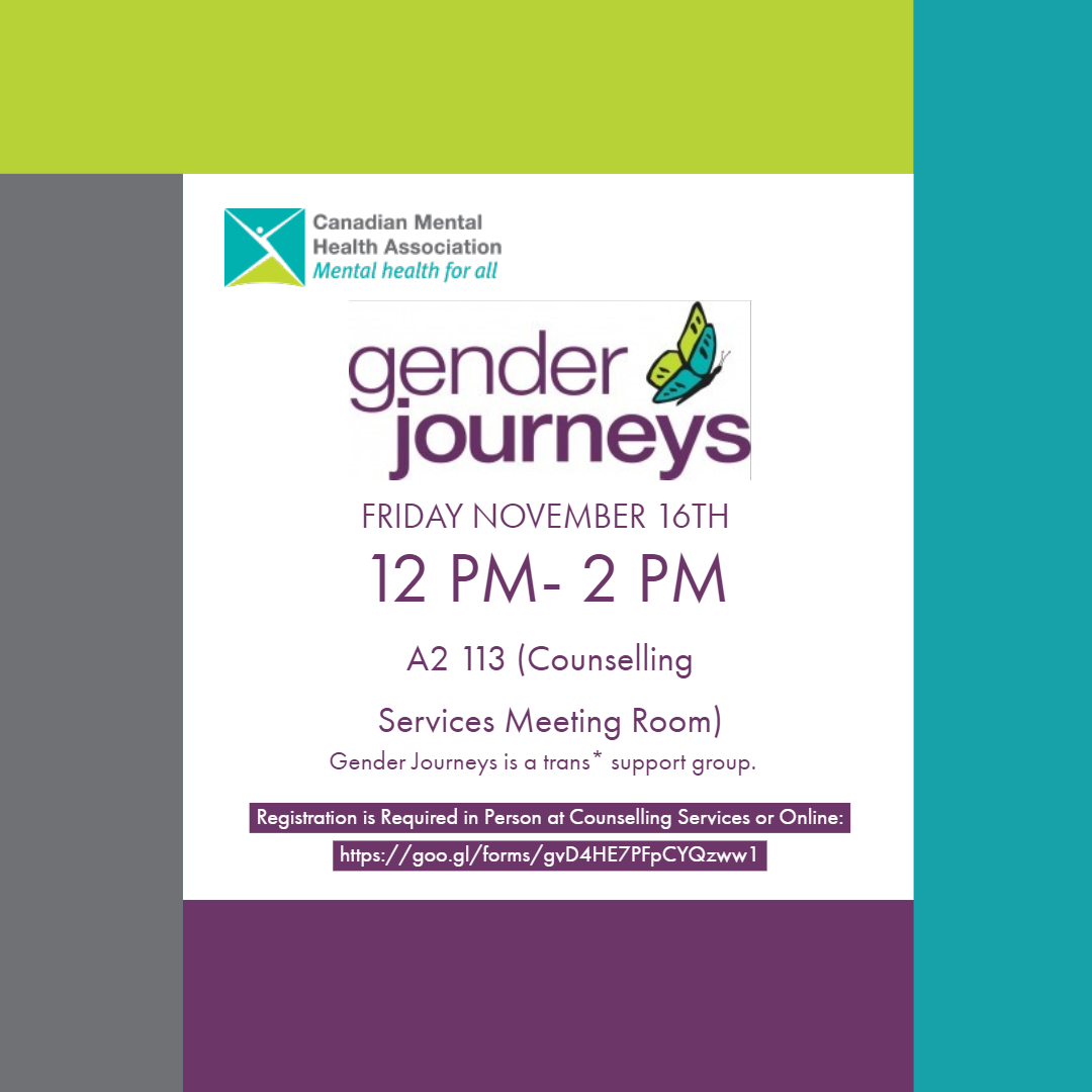 Gender Journeys Meeting November 16th at 12:00 pm to 2:00 pm