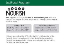 SAC JustFood program order details. November food box deposit is due November 5th in the SAC office