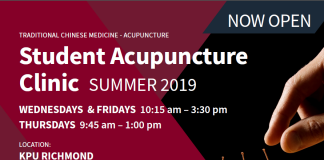KPU Student Acupuncture Clinic - Summer 2019