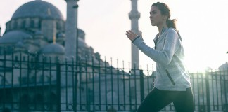 Female running outdoors