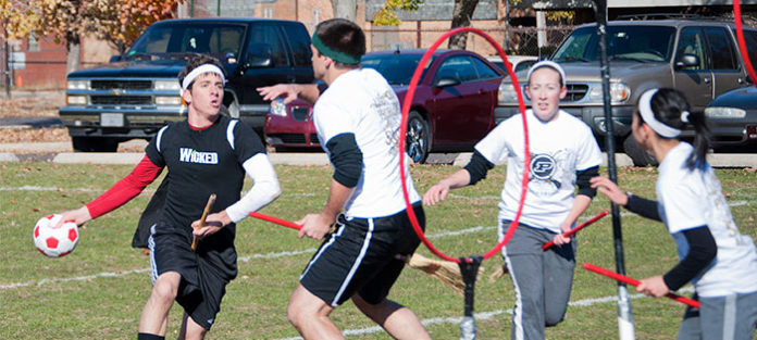 Students playing Quidditch